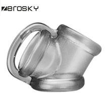 Zerosky Male Scrotal Binding Cock Ring Sex Toys Silicone Time Delay Penis Ring Scrotum Ring Chastity Cage Penis Sleeve for Men