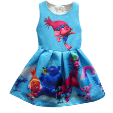2017 Summer Baby Girl Dresses For Girls Princess Trolls Dress Print Party Dress Dress Trolls Costume Kids Costume Vestido 3-10Y(China)
