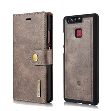 Wallet Leather Case For Huawei P9 Detachable Back Cover Double Folded Stand Coques For Huawei P9 Flip Case Bags(China)