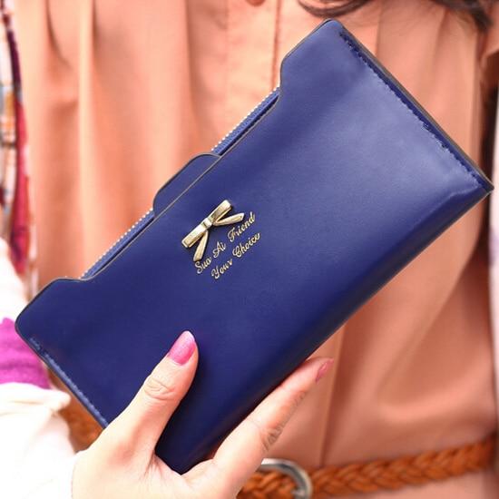 SAF-Fashion Soft Leather women wallets Bowknot Clutch bag Long PU Card Purse,wallet for womens-royal blue<br><br>Aliexpress
