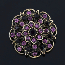 Crystal Rhinestones Flower Brooches for Women in Assorted Color Plated