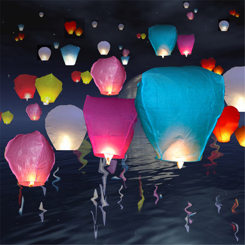 30pcs/lot Paper lantern Chinese wishing lantern hot air balloon Fire Sky lantern for Thanksgiving Birthday Wedding Party color(China (Mainland))