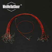 10pcs/lot Sea Fishing Anti-bite Fishing steel wire overstriking red fishing line with Spin Swivel Connector Fishing Accessory