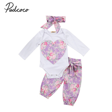 Babies 3pcs Floral clothing Set baby Infant Toddler Kids Baby Girls Heart Flower long sleeve Bodysuit+Pants+headband Outfit Set(China)