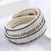 Hot Sale 2016 NEW Fashion Rhinestone Leather Wrap Bracelet Crystal Multilayer Bracelets bangles for Women/Men Free Shipping(China)