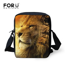 FORUDESIGNS Men Messenger Bags Shoulder Bag Cool Lion Tiger 3D printing crossbody bag for male mini casual travel bag Christmas