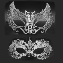 Phantom Silver Gold Batman Costume Masquerade Couple Mask Halloween Party Metal Venetian Men Women Mardi Gras Cosplay Mask Lot(China)
