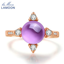 LAMOON Natural Amethyst Stars Cross Charm Ring 925 Sterling Silver Finger Ring Rose Gold Purple Ring Wedding Jewelry LMRI008(China)