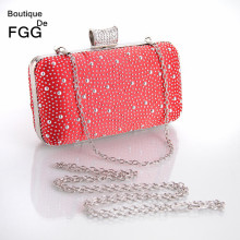 Women's Fashion Magazine Starry Crystal Red Evening Purse Metal Hard Case Wedding Party Banquet Cocktail Handbags Clutch Bag