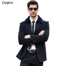 Winter Jacket Men Casual High-grade 2017 New Fashion Brand-Clothing Full Wool Coat Double-breasted Pea Coats Men Long Outerwear