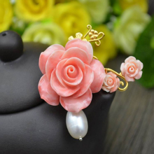 Natural pink Coral Flowers with pearl pendant can used as brooch also fashion elegant women jewelry Jewelry accessories