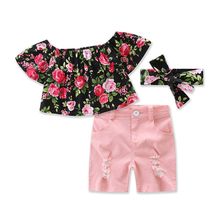 Big Cow Baby Girls Clothing Sets Newborn Infant Outfits Summer Flower Printed Short Sleeve Tops+Shorts+Hair band Kids Clothes