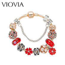 VIOVIA New Gold Chain Clover Charm Bracelets For Women Crystal DIY Red Beads Bracelets & Bangles Pulsera Fashion Jewelry B16130