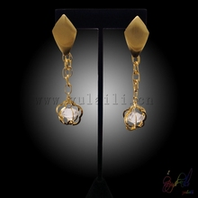Yulaili Free Shipping Guangzhou Manufacturer New Arrival Flower Design Gold-color Copper Girls Drop Earrings(China)