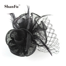 ShanFu Women Small Black Sinamay Fascinator with Feather and Birdcage veil net Fancy Hair clip Hessian Brooch SFB7087