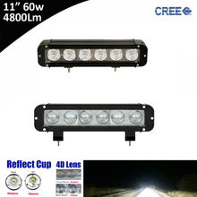 "2x 60w 11"" 11inch Single Row Led Light Bar with Cree 10w High Output White Flood Spot Beam Patter for ATV UTV Motocycle 12v 24v(China)"