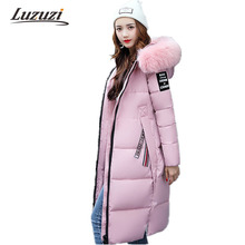 2017 Long Winter Jackets Women Winter Coats Fur Hood Female Down Park Cotton Padded Parka Ladies Overcoat Thick Outwear W1010(China)