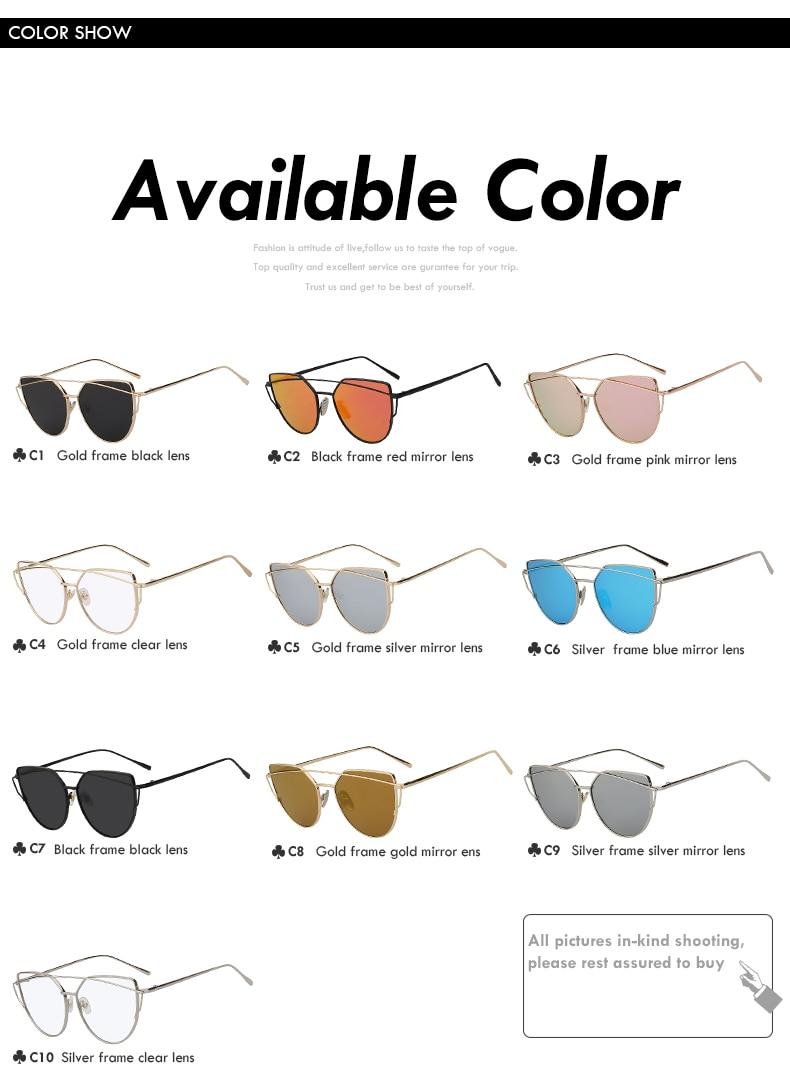 Cat Eye Mirror Shades Sunglasses