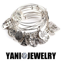 10pcs/lot Wholesale Antique Wire Bracelets & Bangles Silver Plated Expandable Wire Bangles with Charms Wire Bracelet
