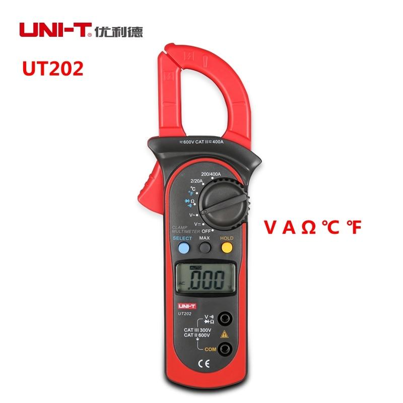 UNI-T UT202 400A 600V Digital Clamp Meters Current/A Voltage/V Resistance C F Temperature Multimeters Auto Range<br><br>Aliexpress