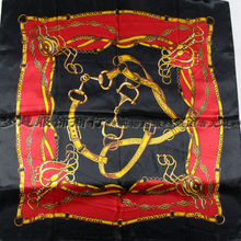 2016 New Arrival Red Black Square Silk Scarf 90*90cm Hot Sale Brand Chain Pattern Scarf Headband Girl Silk Wraps