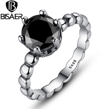 BISAER New Popular Silver Color Black Stone Finger Ring For Women Fashion Jewelry 4 Size Wholesale WEU7205