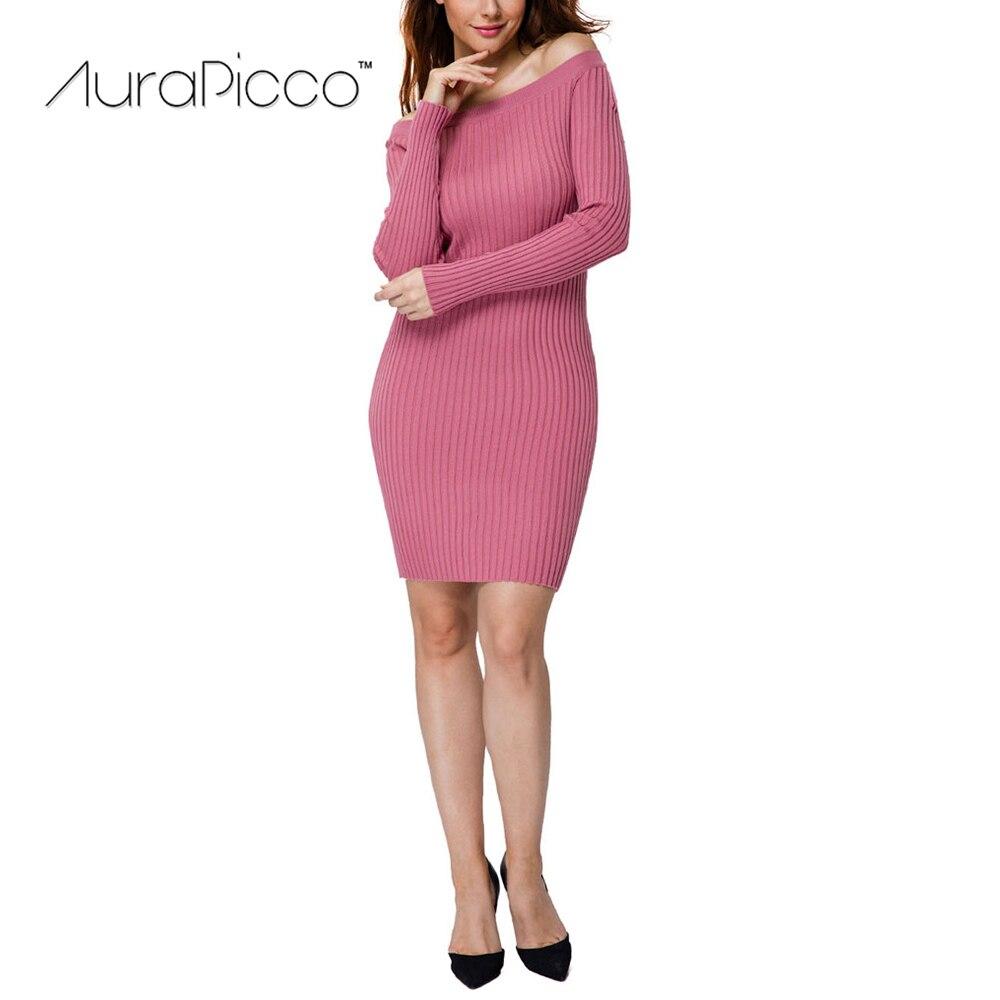 Off Shoulder Ribbed Knitted Sweater Dress Slim Slash Neck Solid Elastic Sexy Midi Bodycon Pencil Dresses Clubwear 2017 AuraPiccoÎäåæäà è àêñåññóàðû<br><br>