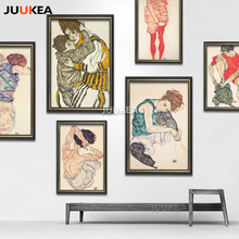 24 PCS Egon Schiele Body Color Delineation Sketch Canvas Art Print Painting Poster, Wall Picture For Living Room, Home Decor(China)