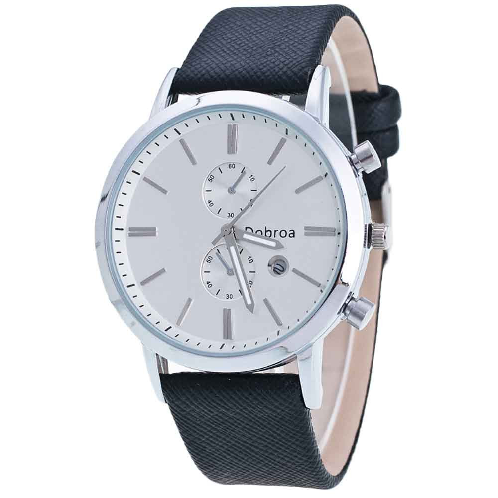 Mens  Waterproof Calendar Luminous Watch Leisure Time  Faux Leather Analog Watches <br><br>Aliexpress