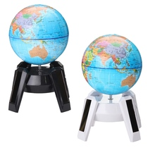 New 11cm Solar Power World Globe Rotating Swivel Map of Earth Geography Study Home Office Cafe Shop Bookcase Desk Decor Gift