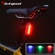 VICTGOAL USB Recharge Bike Tail Light Colorufl Bicycle LED Light Bright Mountain Road Bike Safety Back Rear Lights Lamp M1010(China)