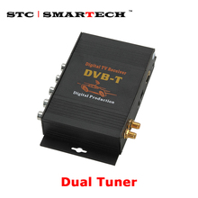 SMARTECH DVBT Dual tuner Digital TV Receiver external box Mobile DVBT TV Receiver for Car DVD digital TV tuner Mpeg4