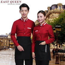 Restaurant waitress uniforms long sleeve waitress uniform pastry chef uniforms housekeeping clothing catering clothing NN0105 W