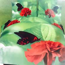 Wholesale and Retail Red Flower Bedding Set 3d Oil painting Carnation Butterfly Bedclothes,Cotton Green Color Duvet Cover Queen