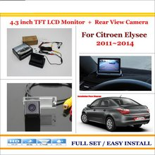 "For Citroen Elysee 2012~2014 - Car Reverse Backup Rear Camera + 4.3"" TFT LCD Screen Monitor = 2 in 1 Rearview Parking System"