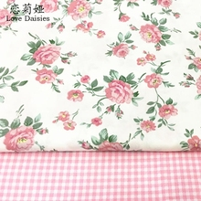 100% cotton twill cloth pastoral lovely pink rose check fabric for DIY kids bedding cushions clothes craft handwork quilting(China)