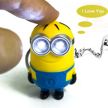 1PCS Cute Cartoon Movie Mini Led Lighting 3D Minion Toys Keychains Doll PVC Action Figure Toys With Sound Children Kids Gifts(China)