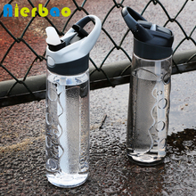 750ML Sports Water Bottle With Straw Plastic Eco BPA Free Portable Handle Water Bottle Travel Kettle(China)