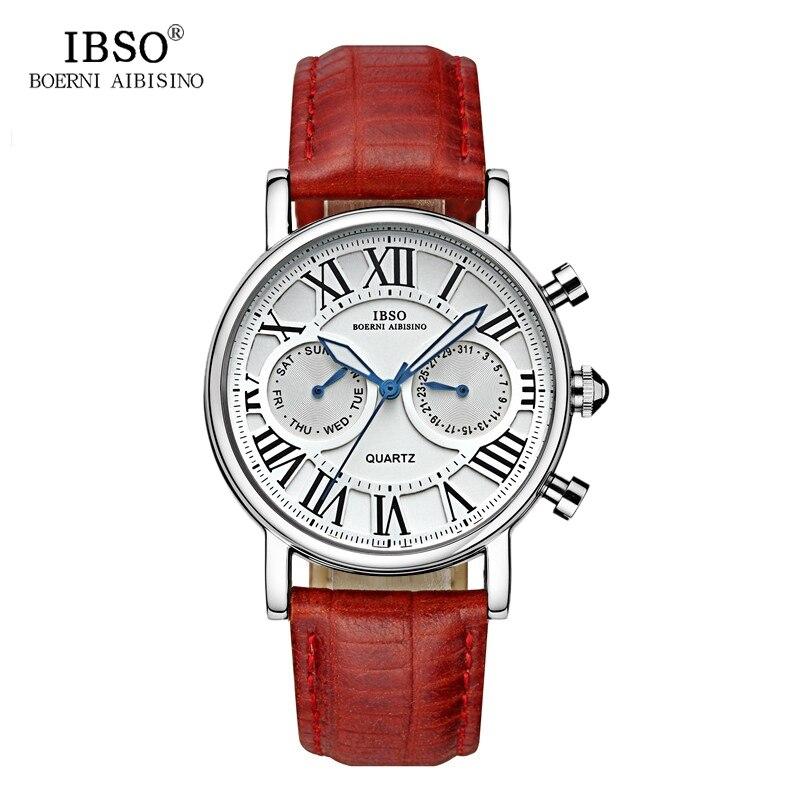 IBSO Luxury Women Leather Watches Calendar Week Display Montre Femme Casual Fashion Ladies Wrist Watches Relogio Feminino #6819<br>