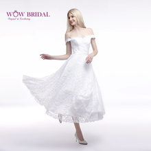 Wowbridal Lace Vintage Wedding Dress 2016 Off the Shoulder Sash Sleeveless Short Wedding Dress Zipper Back SH0003