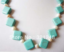 "Free shopping new 2014 diy 12mm Turkey turquoises calaite & 6-7mm white pearl necklace length 18 "" GE5310(China)"