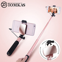 TOMKAS Mini Selfie Stick With Button Wired Monopod Universal For iPhone 6 5 S Android Samsung Huawei Xiaomi Sticks With Mirror(China)