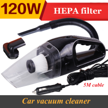 Car Vacuum Cleaner for Automotive 12V 120W Wet And Dry Dual Use 5M Super Suction Black Blue Orange White Color