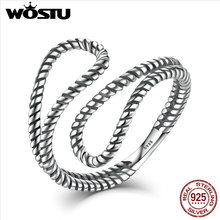 WOSTU 2017 New Collection Vintage 925 Sterling Silver Twisted Rope Adjustable Ring Free Shipping Fine Jewelry BMR041