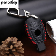 Peaceky Leather Car Key cover For Mercedes Accessories W203 W210 W211 W124 Smart 2 3 Button Genuine Leather Key Case For Benz