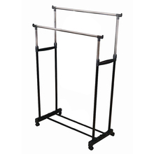 Double Adjustable Height Clothes Rail with Shoe Shelf(China)