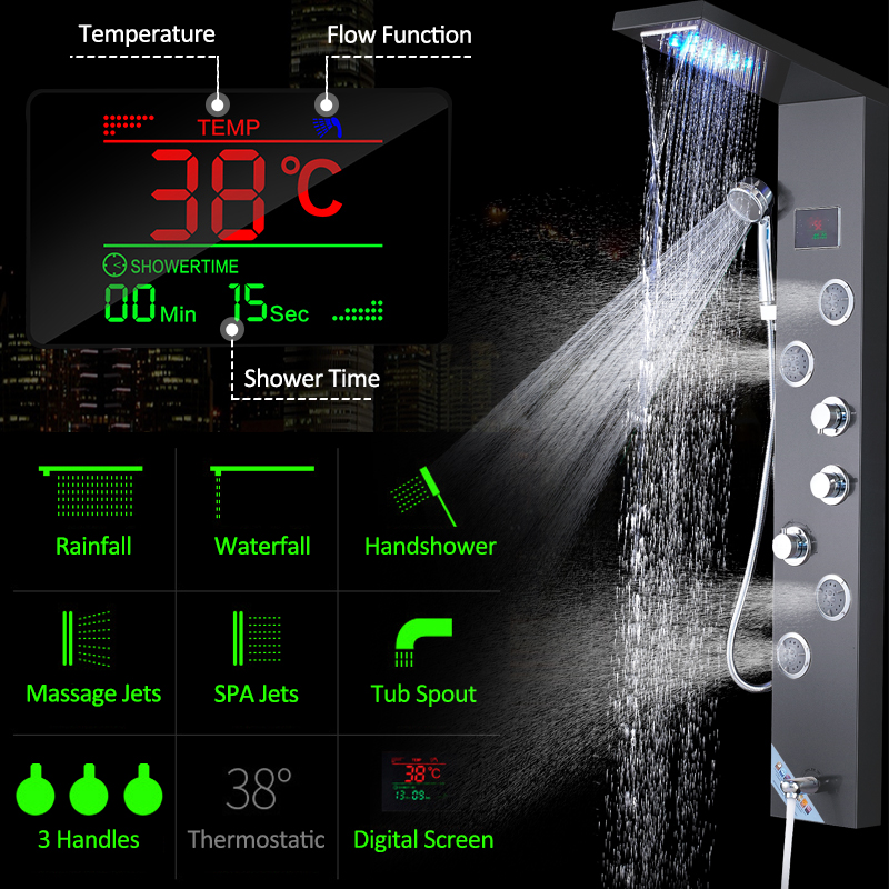 quyanre wanfan frap black led shower panel shower column rainfall waterfall shower head 4 mist spa jets 3 handles mixer tap tub spout bath shower3