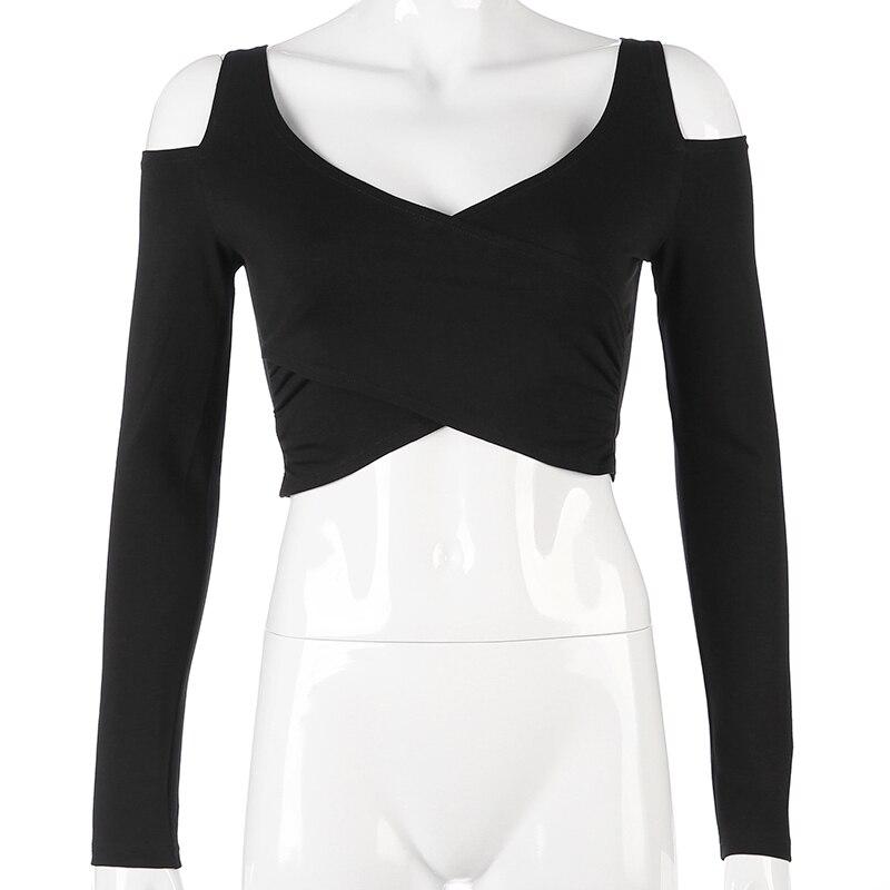 421f6c5568 SUCHCUTE Sexy Long Sleeve Crop Top T Shirt Women Vogue Cross Korean Tee  Shirt Femme Autumn 2018 Black Elegant Harajuku Tshirt | BLASTOUTDEALS