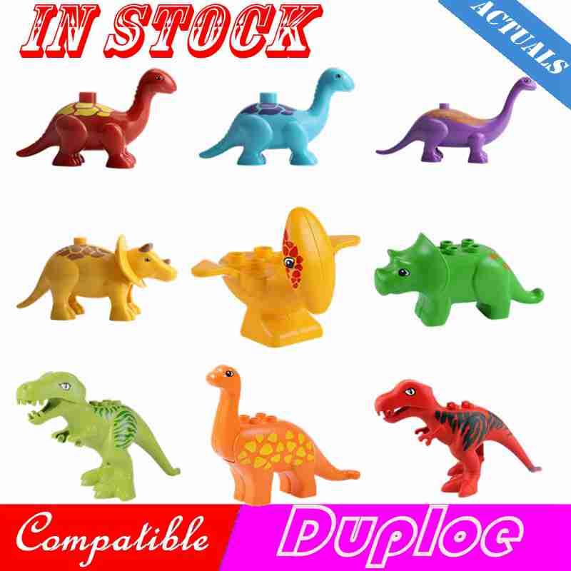 Creator Duplo Animal Jurassic Park Dinosaur World Tyrannosaurus Rex Pterosaurs Triceratops Models Blocks Toys Compatible Duploed
