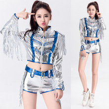 Sexy Korea Girls Silver Stage Clothing DS Dancer Cheerleader Costume Female Fancy Dress Outfit Two Piece Sets With Sequin Tassel(China)